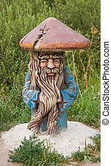 sculpture of grandfather as a mushroom