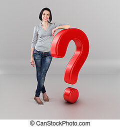 Girl with a question - Beautiful girl stand with big...