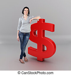 Girl with a money - Beautiful girl stand with a big dollar...