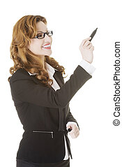 Businesswoman with a marker