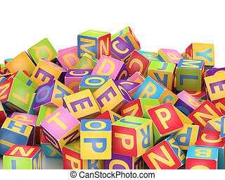 ABC cube pile - Many abc education cube scattered on pile in...