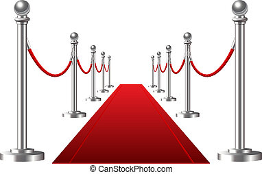 Red event carpet isolated on a white background. Vector...