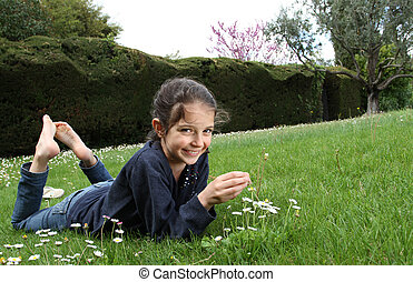Young girl in a garden