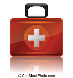 red first aid case - colorful illustration with red first...