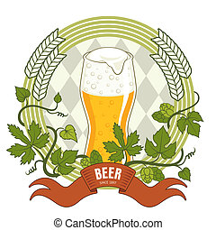 Beer label, vector illustration with glass of beer