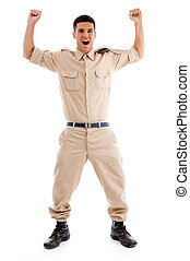 happy young soldier against white background