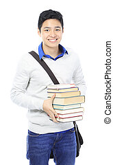 Studious Student - A teenage student carrying a pile of...