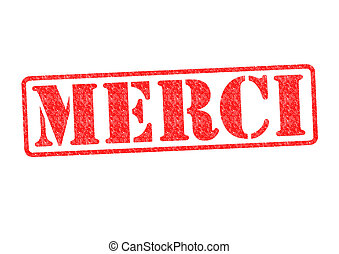 MERCI Rubber Stamp over a white background.