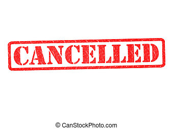 CANCELLED Rubber Stamp over a white background