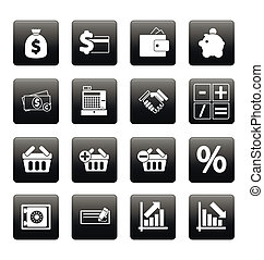 Finance icons on black squares