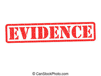 EVIDENCE Rubber Stamp over a white background