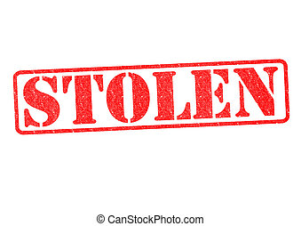 STOLEN Rubber Stamp over a white background