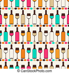Seamless retro pattern with bottles of wine and glasses