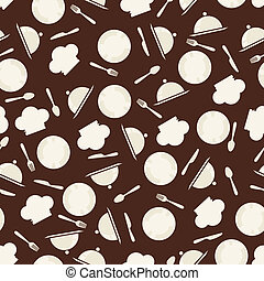 Seamless retro kitchen pattern.