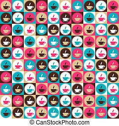 Seamless retro coffee and tea pattern