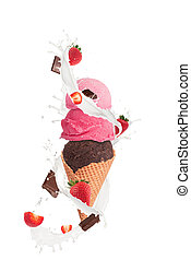 Ice cream with milk splash and pieces of fruit and...