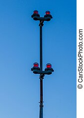 Red Lights - Red warning lights on a pole