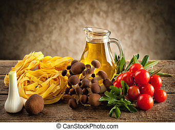 Ingredients for cooking noodles with mushrooms