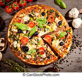 fresco, italiano, pizza, superior, vista