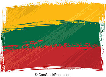 Grunge Lithuania flag - Lithuania national flag created in...
