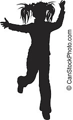 silhouette of young girl - Vector silhouette of young girl...