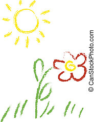 Child vector drawing with sun and flower