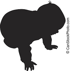 Vector little baby silhouette