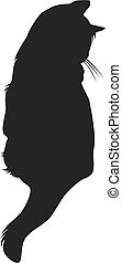 cat silhouette - Vector black cat silhouette against the...