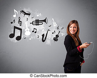 Beautiful young woman singing and listening to music with musical notes and instruments getting out of her mouth