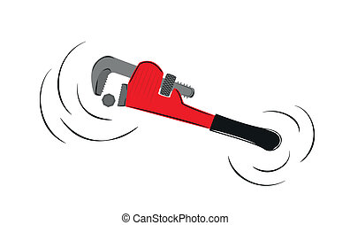 pipe wrench - motion of the red pipe wrench and screw