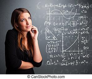 hermoso, escuela, niña, pensamiento, sobre, Complejo,...