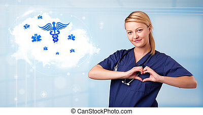 Young doctor with abstract cloud and medical icons -...