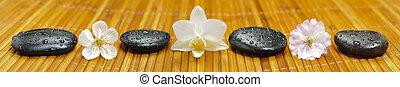 pedras, flores,  Zen, jardim