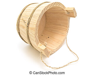 Single wooden sauna vat against the white background