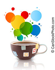 Coffee-mug with colorful abstract speech bubble, isolated on...