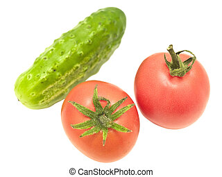 two tomatoes and cucumber