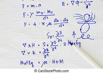 Equation and formula sketch in a white napkin