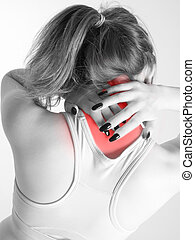 woman with neck pain - woman suffering from neck pains