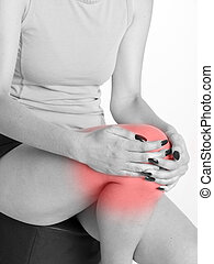 woman with knee joint pain - woman suffering from knee joint...