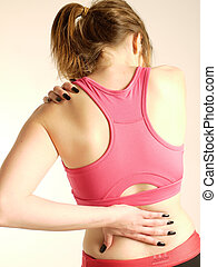 woman with back and neck pain - woman suffering from neck...