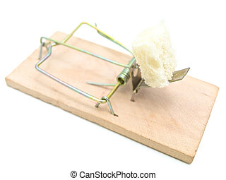 mousetrap with piece of bread against the white background