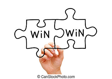 Win Win Puzzle Concept - Hand drawing Win Win Puzzle Concept...