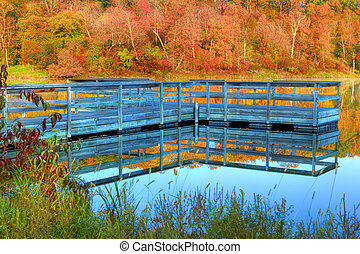 High Dynamic Range of a boat dock and fall colors