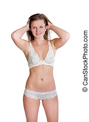 Erotic blond woman in white underwear