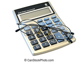 digital calculator and glasses over the white background