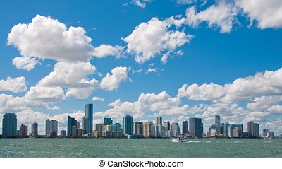 Time lapse of Miami Skyline - Miami Skyline time lapse on a...