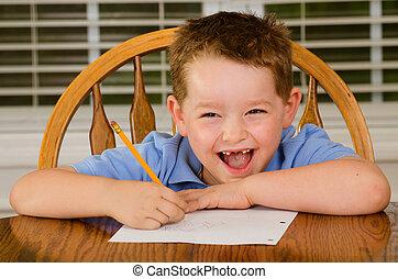 feliz, niño, el suyo, deberes