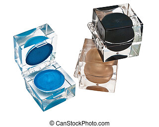 eyeshadows - different eyeshadows boxes over the white...