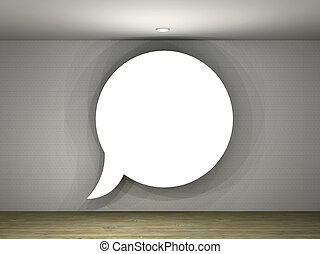 illustration of a empty gallery with a text balloon frame -...