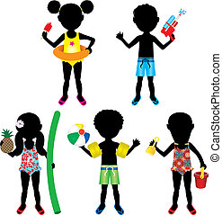 Kids Swimsuit Silhouettes 2 - Vector Illustration of 5...